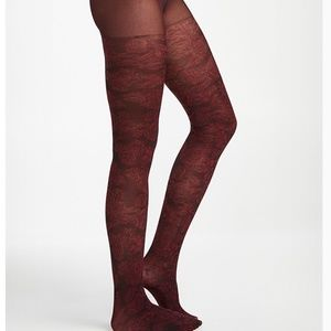 *3for$30* Burgundy rococo rose tights NWT